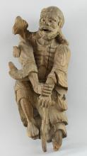 Chinese root carving of man with a walking stick, 40cm high,