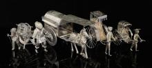 Chinese silver horse and wagon, two rickshaws pulled by figu