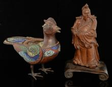 Chinese carved hardwood figure of a robed man with a long be