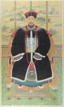 20th century Chinese ancestor portrait on silk of a seated d