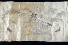 Chinese silk banner, embroidered in silk stitch with water b