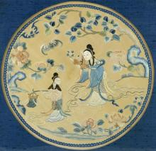 Chinese silk roundel, embroidered with bat flying over figur