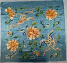 Chinese embroidery, the blue silk ground with butterflies an