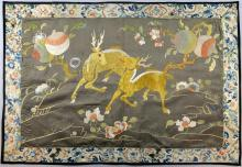 Chinese silk, the brown ground embroidered with two deer and