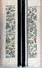 Pair of Chinese sleeve panels, worked in silk stitch and Pek