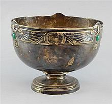 Early 20th century Sucessionist bowl rim decorated with with winged masks and inset with Chalcedony ovals