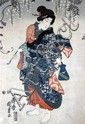 Utagawa Kunisada (Ichi Jusai) 1768-1865 - pre-restoration Japanese print of a woman,