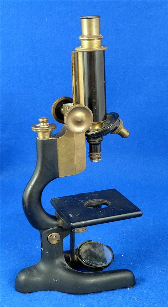 Bausch and Lomb brass and painted metal microscope