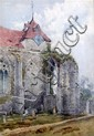 William J Boddy (circa 1831-1911) - Church and graveyard, watercolour, signed and dated Winchelsea 1891