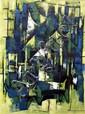 S. G. Fibdon, cubist style landscape,
