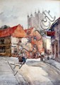 Frances E Nesbit, Lincoln scene, signed watercolour