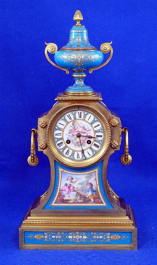 19th century French gilt metal and porcelain mantel clock