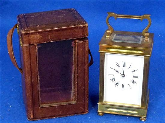 French brass and four glass carriage clock with lever movement,