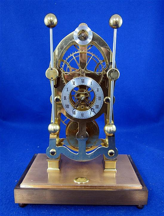 20th century brass and silver plated compound skeleton clock by Dent of London, with subsidiary second dial,