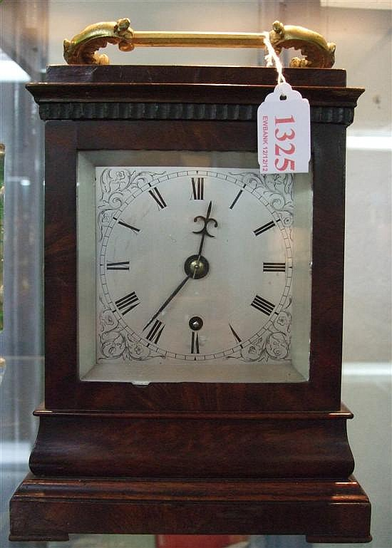 Mahogany mantel clock with fusee movement, modern silvered dial, Roman numerals, gilt metal carrying handle.
