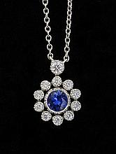 Tiffany & Co platinum pendant necklace set with sapphire and diamond