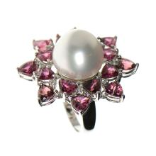 18k White Gold, White South Sea Pearl, Tourmaline, Diamond Ring