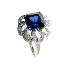 18k White Gold, Blue Topaz, Diamond Ring