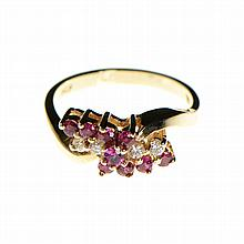 14k Yellow Gold, Ruby, Diamond Ring