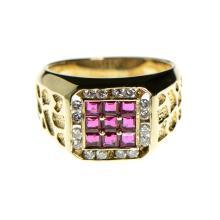 14k Yellow Gold, Ruby, Diamond Ring