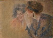 Lucien Levy-Dhurmer (1865-1953) Confidence Pastel signed lower right 78,5 x 56 cm