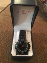 Black metal Polo USA men's watch very nice condition needs a battery