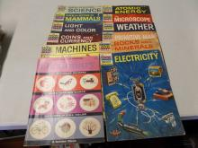 BOOK LOT OF 11 The How And Why Wonder book of rocks & Minerals, Coins & Currency Electricity and more Also a Golder Picture Dictionary