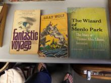 BOOKS lot of 3 fantastic Voyage, Gray Wolf, The Wizard of Menlo Park (THE STORY OF THOMAS ALVA EDISON INVENTOR