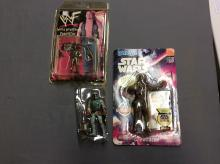 Action Figure Lot: Star Wars and WWE Chewbacca Bend ems
