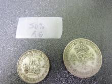 1946 1 Shilling and 1946 2 Shilling Coin Lot (50% pure silver)