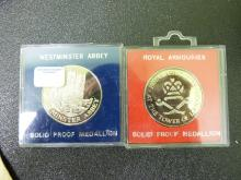Westminster Abbey and Royal Armouries Solid Proof Medallions