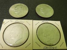 Lot of 4 Eisenhowe Dollar Coins 3 are Bicentenial editions!