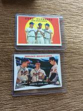 1959 Topps Cubs Clubbers Ernie Banks and Mound Magicians Warren Spahn