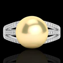 0.30 CTW Micro Pave Diamond Certified & Golden Pearl Designer Ring 18K White Gold - 22625-REF#45Z5T