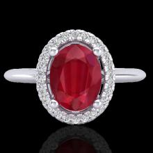 2 CTW Ruby & Micro Pave Diamond Bridal Ring Solitaire Halo 18K White Gold - 21018-REF#43M9G