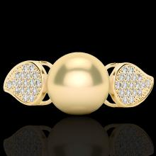 0.27 CTW Micro Pave Diamond Certified & Golden Pearl Designer Ring 18K Yellow Gold - 22641-REF#31V6A