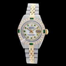 Rolex Ladies 2Tone 14K Gold/ Stainless Steel, Diam/Ruby Dial & Diam/Emerald Bezel, Saph Crystal - REF#332X7G