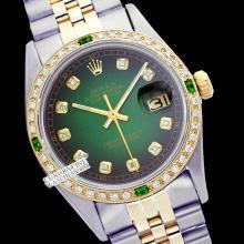 Rolex Men's 2Tone 14K Gold/ SS, QuickSet, Diam Dial & Diam/Emerald Bezel - REF#458M2K