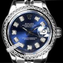 Rolex Men's Stainless Steel, QuickSet, Diamond Dial & Diamond Bezel - REF#425F5W