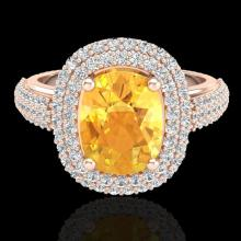 Natural 3.50 CTW Citrine & Micro Pave Diamond Certified Halo Ring 14K Gold - 20714-REF#89G8W
