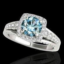 Genuine 1.75 CTW Certified Fancy Blue Genuine Diamond Solitaire Halo Ring Gold - 34315-REF#139A7N
