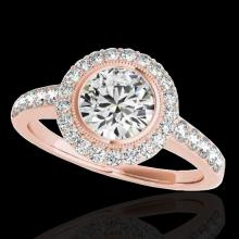 Genuine 1.50 CTW Certified G-I Genuine Diamond Bridal Solitaire Halo Ring Gold - 34442-REF#120R2Z