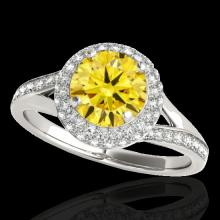 Genuine 1.60 CTW Certified Fancy Intense Genuine Diamond Solitaire Halo Ring Gold - 34121-REF#120Y7V