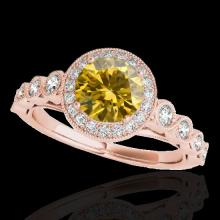 Genuine 1.93 CTW Certified Fancy Intense Genuine Diamond Solitaire Halo Ring Gold - 33615-REF#172Y3V