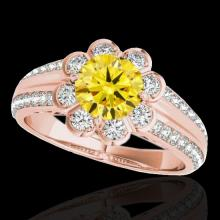 Genuine 2.05 CTW Certified Fancy Intense Genuine Diamond Solitaire Halo Ring Gold - 34485-REF#183G2W