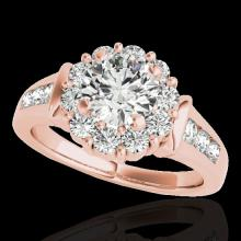 Genuine 1.90 CTW Certified G-I Genuine Diamond Bridal Solitaire Halo Ring Gold - 34293-REF#138W2K