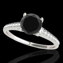 Genuine 2.0 CTW Certified Black Genuine Diamond Solitaire Bridal Ring Gold - 34856-REF#76F5M
