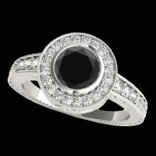 Genuine 2.0 CTW Certified Black Genuine Diamond Bridal Solitaire Halo Ring Gold - 33903-REF#81K3T