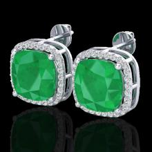 Genuine 12 CTW Emerald & Micro Pave Halo Diamond Earrings Solitaire 18K Gold - 23061-REF#84H5R