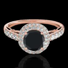 Genuine 1.65 CTW Certified Black Genuine Diamond Bridal Solitaire Halo Ring Gold - 33701-REF#79G3W